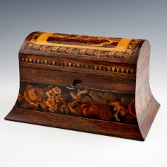 A Tunbridge Ware Two Compartment Domed-top Tea Caddy Depicting Hever Castle c1870
