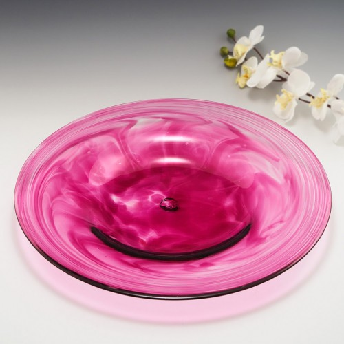 Magenta Colour Glass Charger Possibly Isle Of Wight