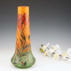 A Legras Enamelled and  Mottled Glass Vase c1920