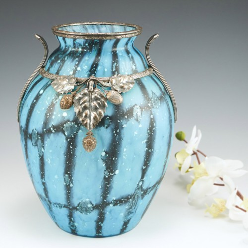 Rare Paul Daum Vase Vase with Silvered Metal Mounts and Pine Cone Appliques c1925