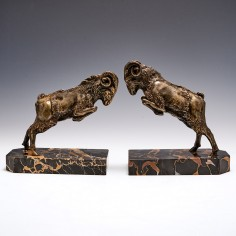 Bronze Ram Bookends By Scribe c1930