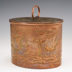 A Marked Newlyn Nautical Copper Tea Caddy