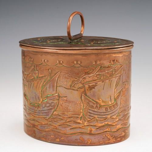 A Marked Newlyn Nautical Copper Tea Caddy