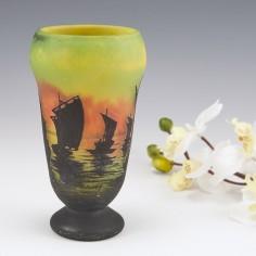 A Daum Cameo Glass Vase of Sailboats at Sunset c1910