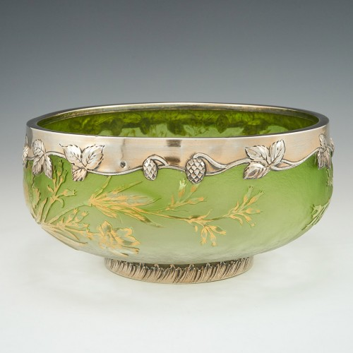 Signed Daum Nancy Glass Bowl Hallmarked Silver Rim 1896-1899