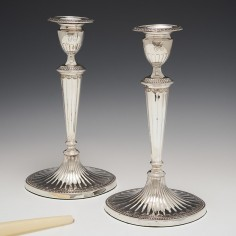 A Pair Of Very Fine Sterling Silver Candlesticks Sheffield 1785