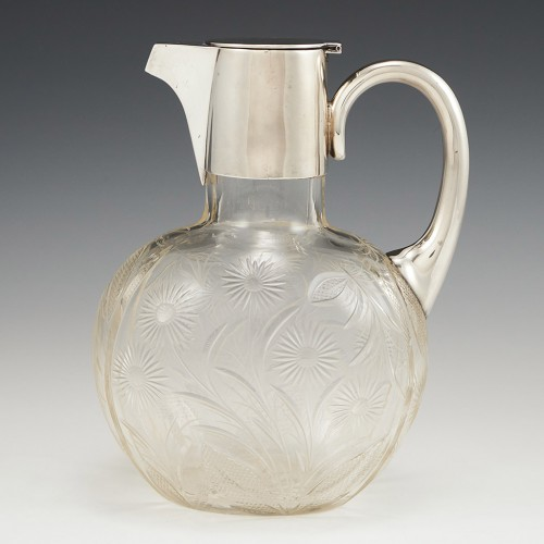 A Cut Glass Claret Jug With Sterling Silver Cover 1905