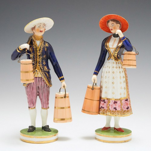 A Pair of Derby Duesbury Period Porcelain Figures of a Milkman and Milkmaid c1820