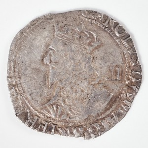 Charles I Silver Shilling P in Circle Mint Mark, Tower Mint Under Parliament, 1643-44