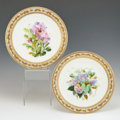 A Pair of English Porcelain Dessert Plates c1865