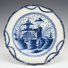 A Liverpool Pearlware Blue and White  Plate c1790