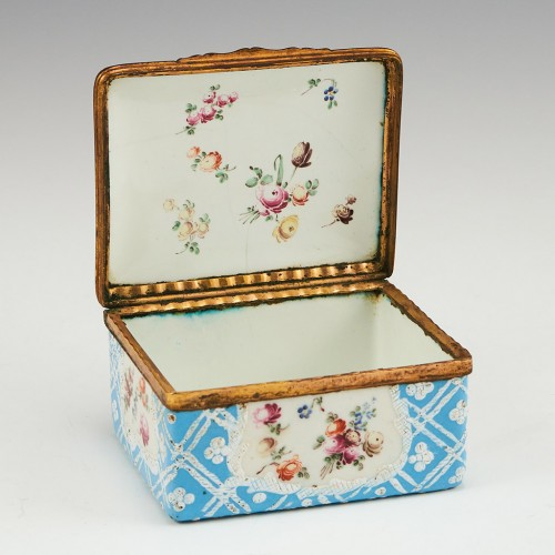An English Enamel Box with Hinged Cover c1770