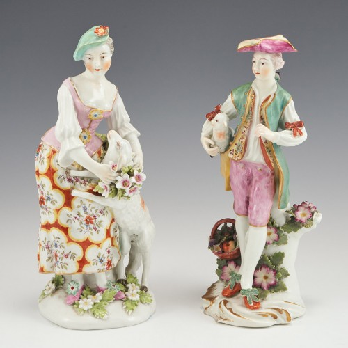 Derby Porcelain Figure of a 'Gallant' Shepherd and 'Garland' Shepherdess c1765