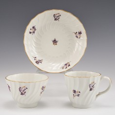 A Worcester 'Flight Period' Porcelain Coffee Cup and Saucer of Shanked Form c1790