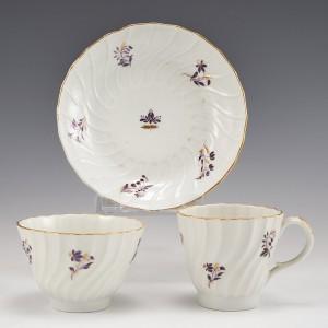 A Worcester Flight Period Porcelain Trio c1790