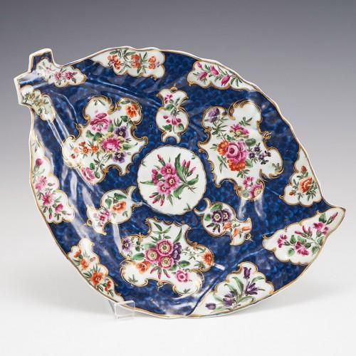 Worcester Porcelain Blue Scale Leaf Dish c1775