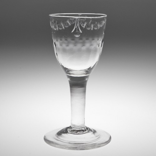 A Rib Moulded  OXO Engraved Wine Glass c1800