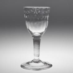 OXO Engraved Rib Moulded Plain Stem Wine Glass c1775