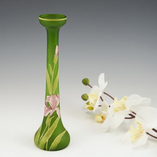 An Elegant Single Stem Enamelled Bud Vase c1900