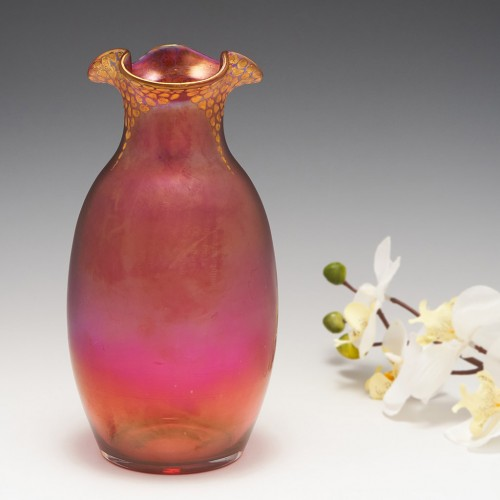 Loetz Satin Finish Cranberry Enamelled Vase c1900-05