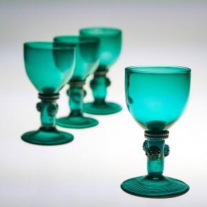 Four English Roemer Wine Glasses c8120