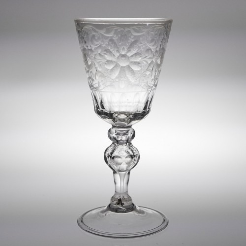 Tall Engraved Saxonian  Glass Goblet c1765