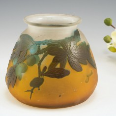 A Galle Cameo Glass Vase With Sloes c1925