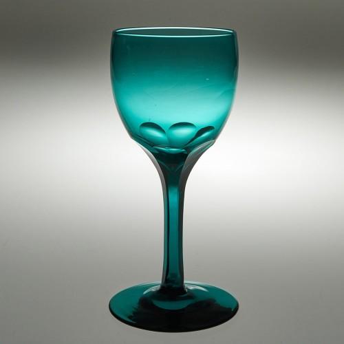 Rare Tall Victorian Peacock Blue Wine Glass c1760