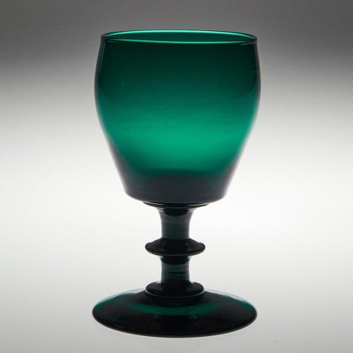 Rare Incurved Bucket Green Wine Glasses c1830