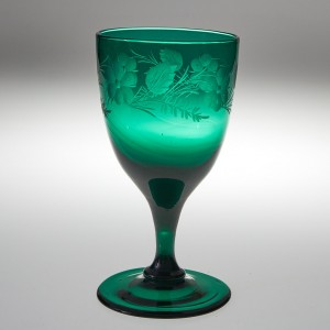 An Engraved Green Wine Glass c1840