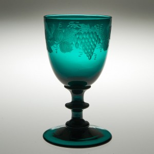 An Engraved Victorian Green Wine Glass c1855