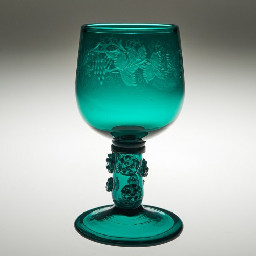 Engraved Folded Foot Hollow Stem Wine Glass c1810