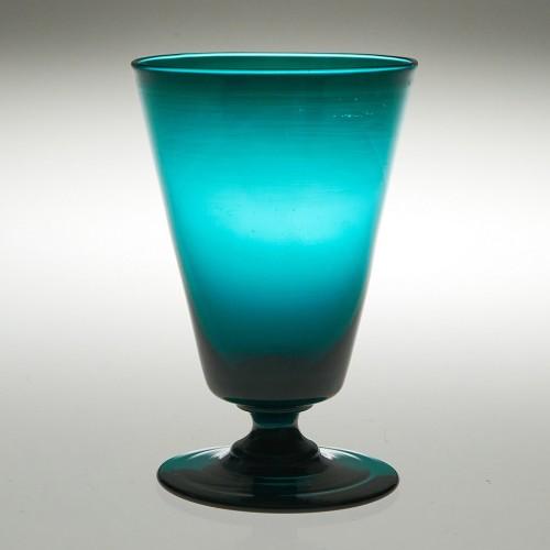 Rare Peacock Blue Dram Glass c1820