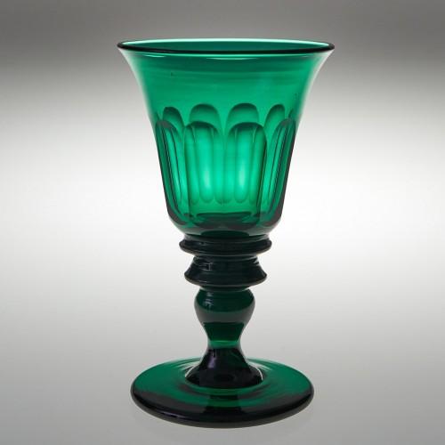 Very Rare Panel Cut Inverted Baluster Stem Green Wine Glass c1820