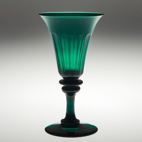 Petal Cut Emerald Green Wine Glass c1830
