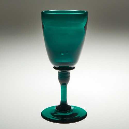 Rare Georgian Green Wine Glass With Cylinder Knop c1800