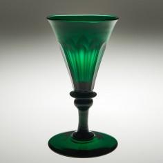 A Petal Cut Emerald Green Wine Glass c1830