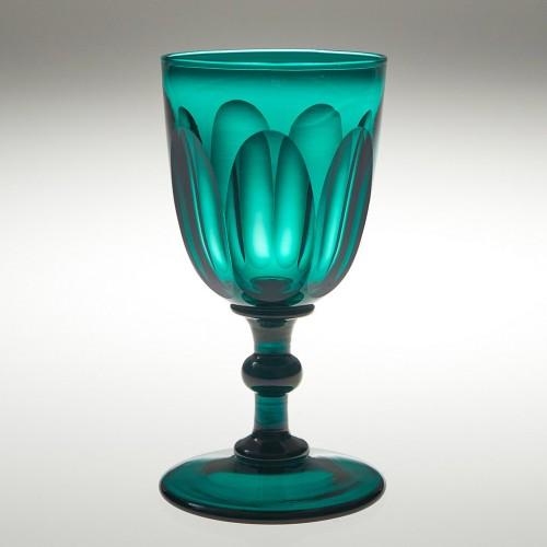 A Petal Cut Early 19th Century Green Wine Glass