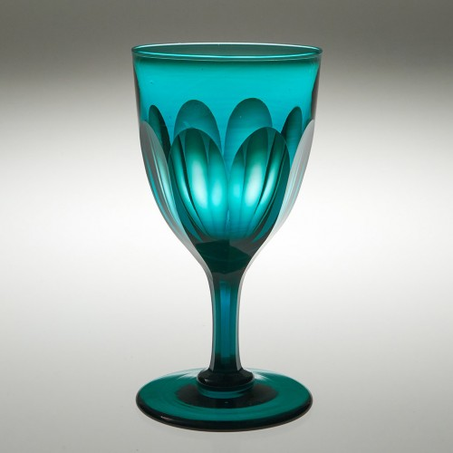 A Victorian Peacock Blue Wine Glass c1855