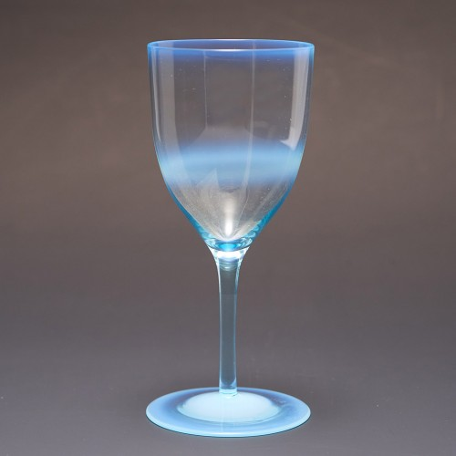 A James Powell & Sons Whitefriars Blue Opal  Wine Glass c1890