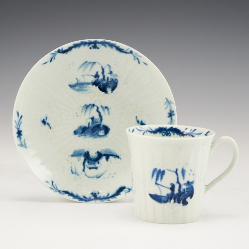 An Early Worcester Porcelain ' Fisherman and Willow Pavilion' Coffee Can and Saucer Circa 1755