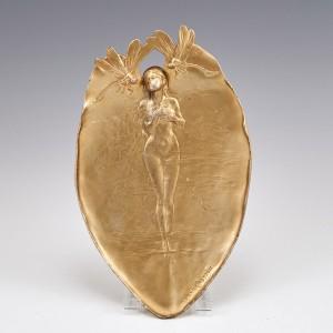 An Art Nouveau Gilt Metal Vide Poche by Joseph Cheret c1900