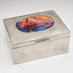 A  Polished Pewter and Enamel Box for Liberty and Co c1905
