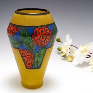 An Art Deco Enamelled Glass Vase by Leune c1925