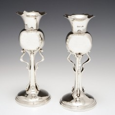 A Pair of Arts and Crafts English  Silver Vases Sheffield 1902