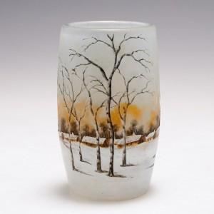 A Daum Miniature Enamelled Winter Landscape Vase c1905