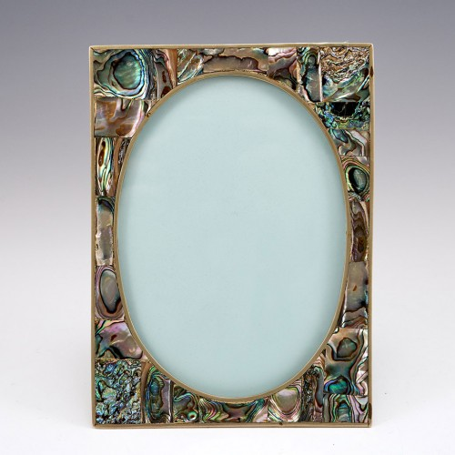 An Abalone Faced Photograph Frame in Polished White Metal Mounts c1935