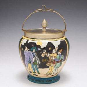 A Wileman and Co Foley Pottery 'Intarsio Ware' Biscuit Barrel By Frederick Rhead 1901-05