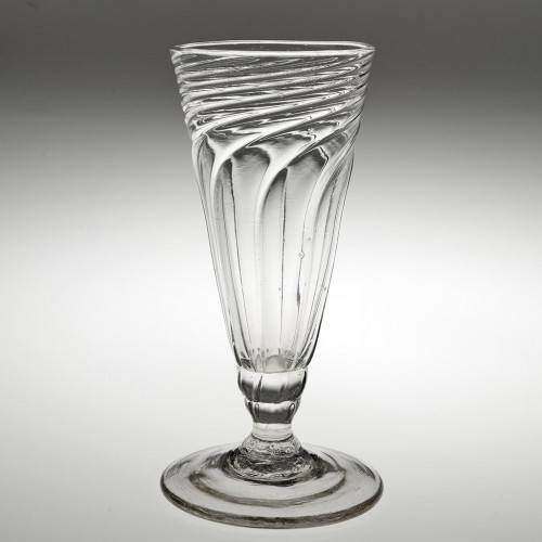 Tall Georgian Somerset Wrythened Ale Glass c1765