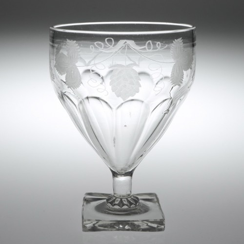 An English Square Base Engraved Glass Rummer c1820